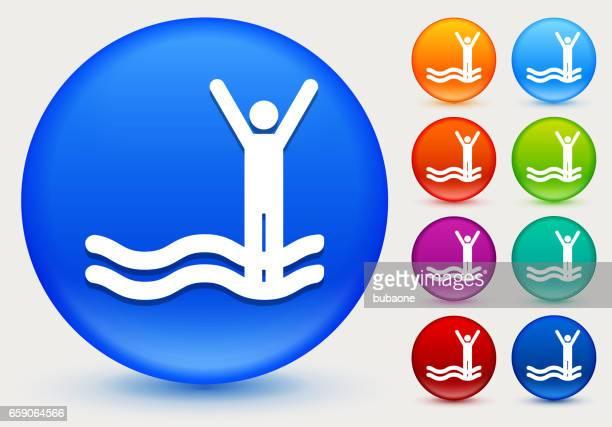 ilustraciones, imágenes clip art, dibujos animados e iconos de stock de figura de palo en inundación icono de círculo brillante color botones - relief emotion