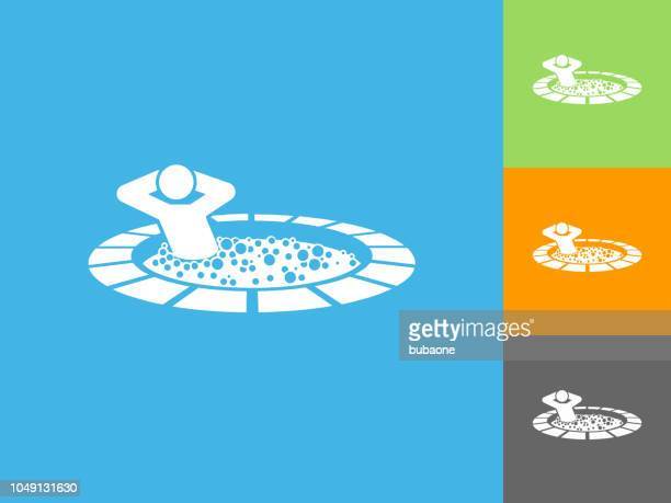 Stick Figure in Hot Tub Flat Icon on Blue Background