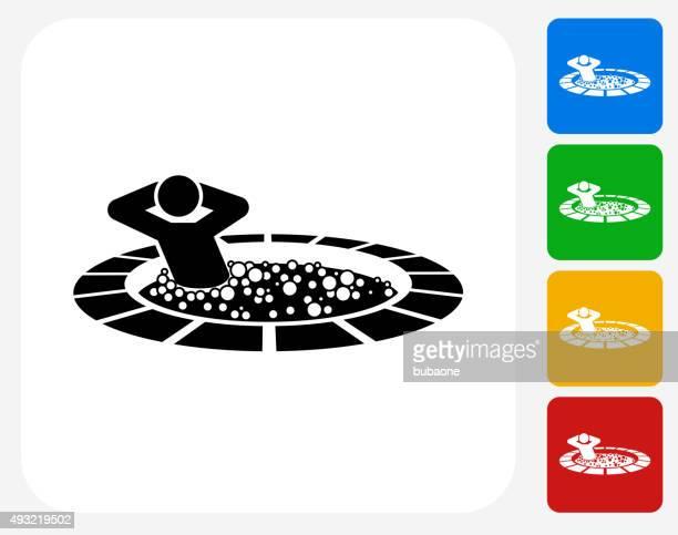 stick figure in hot tub icon flat graphic design - tourist resort stock illustrations, clip art, cartoons, & icons