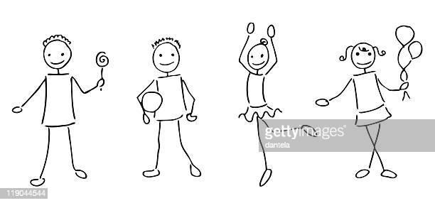 strichmännchen kinder - strichmännchen stock-grafiken, -clipart, -cartoons und -symbole