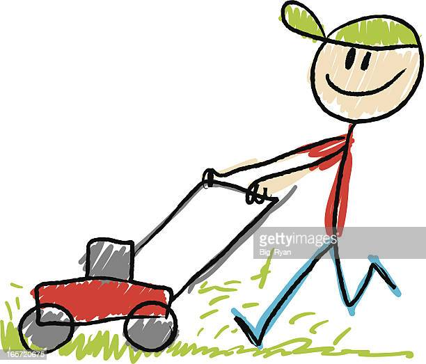 stick figure lawn mower