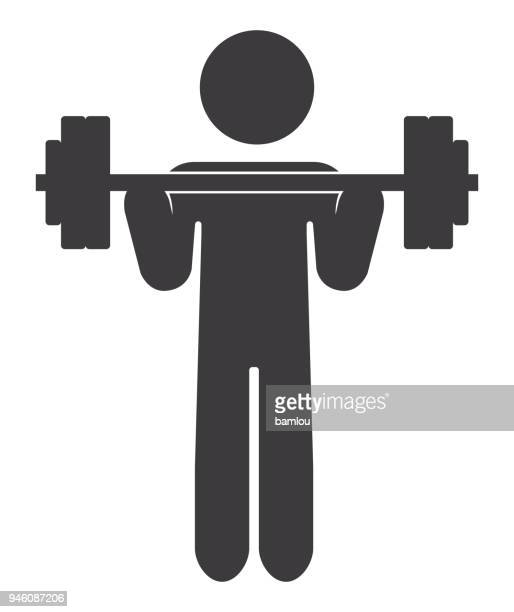 stick figure lifting barbell icon - barbell stock illustrations, clip art, cartoons, & icons