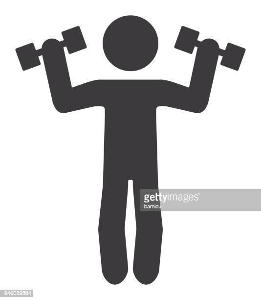 stick figure lifting dumbbells icon - dumbbell stock illustrations