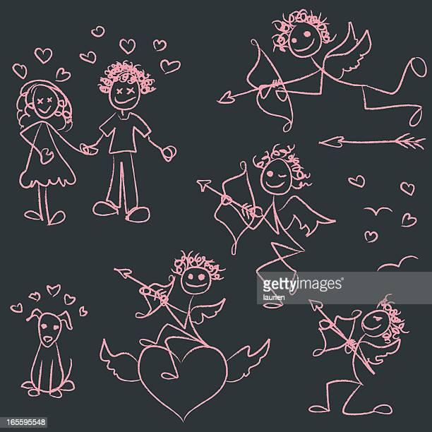 illustrations, cliparts, dessins animés et icônes de représentation humaine en traits love embuscade - cupidon humour