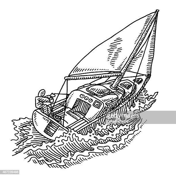 illustrations, cliparts, dessins animés et icônes de représentation humaine en traits sur voilier en mer agitée dessin - voilier noir et blanc