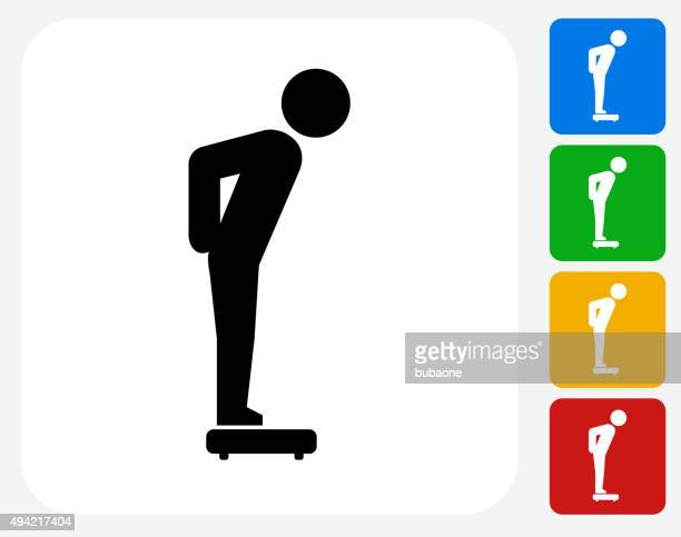 stick figure on the scale icon flat graphic design - animal scale stock illustrations, clip art, cartoons, & icons