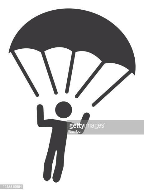 stick figure parachute icon - paratrooper stock illustrations, clip art, cartoons, & icons