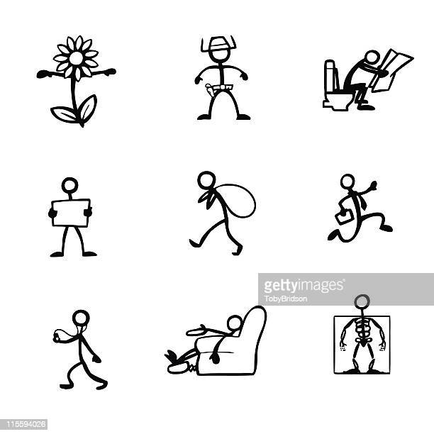 stick figure people activities - defecating stock illustrations, clip art, cartoons, & icons