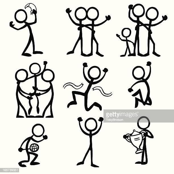 stick figure people celebration - stick figure stock illustrations