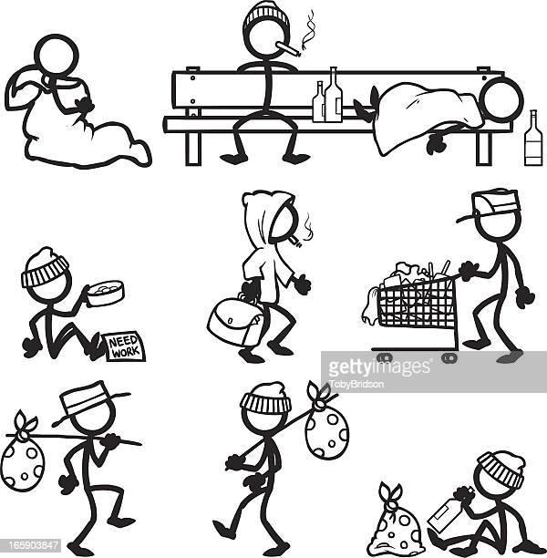 stick figure people hobo - vagabond stock illustrations, clip art, cartoons, & icons