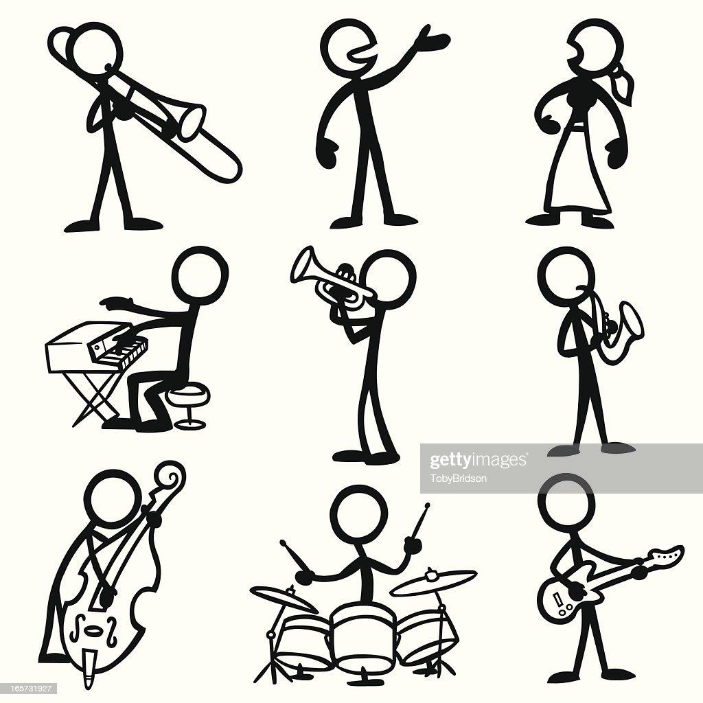 Stick Figure People Jazz Musicians Stock Illustration