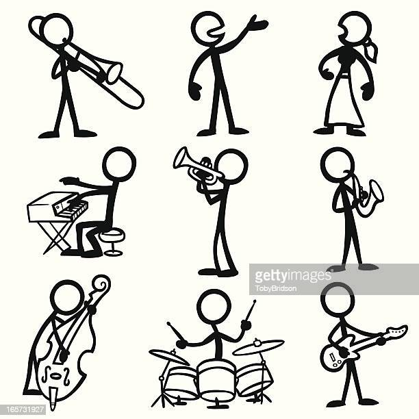 Stick Figure People Jazz Musicians