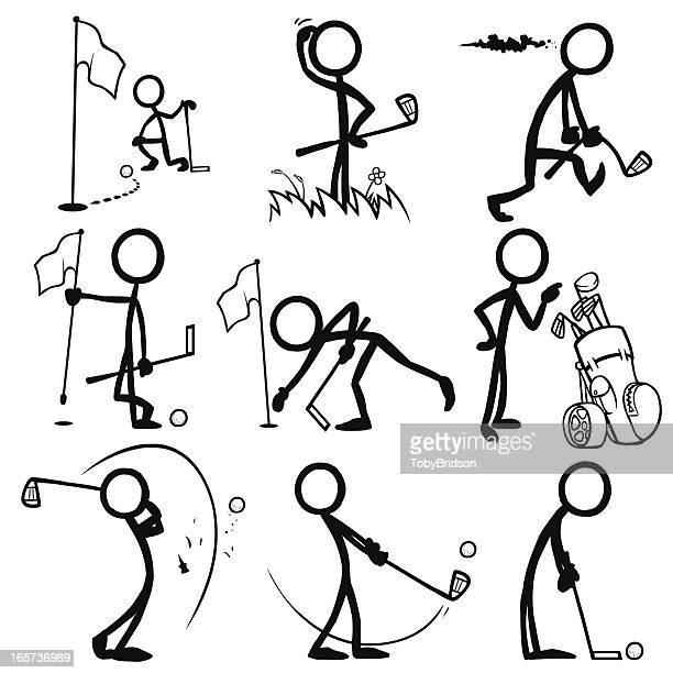 スティックフィギュア人のゴルフ - 棒人間点のイラスト素材/クリップアート素材/マンガ素材/アイコン素材