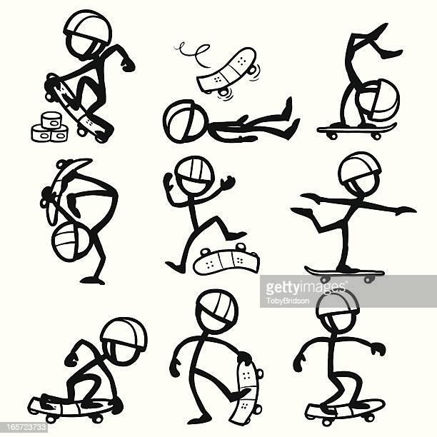 Stick Figure People Skateboarding