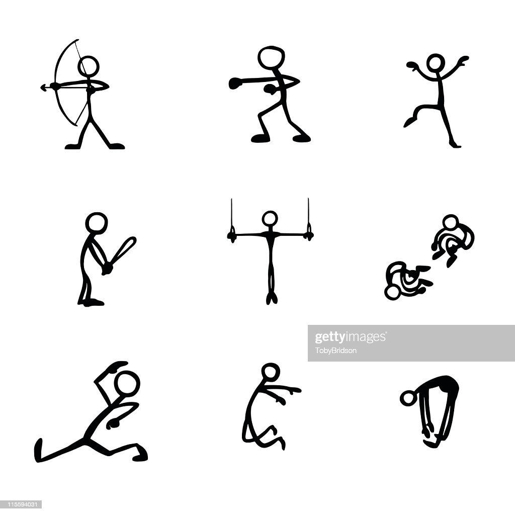 Stick Figure People Sports : stock illustration
