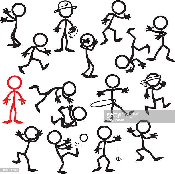 Stick Figure People stand out in a crowd