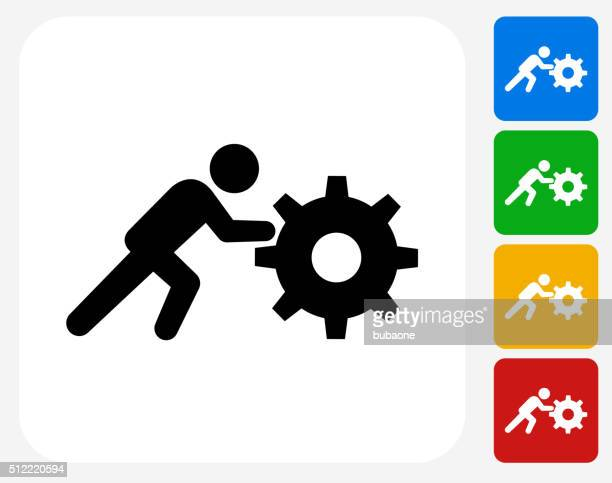 Stick Figure Pushing Gear Icon Flat Graphic Design
