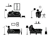 Stick figure resting at home position set. Sitting, lying, smoking cigarette, listening to music, using laptop, drinking whiskey vector icon relaxing posture on sofa and armchair. Furniture pictogram