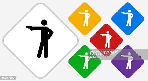 stick figure shooting color diamond vector icon - shooting a weapon stock illustrations, clip art, cartoons, & icons