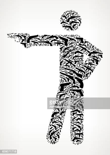 Stick Figure Shooting Gun Black Icon Pattern Background