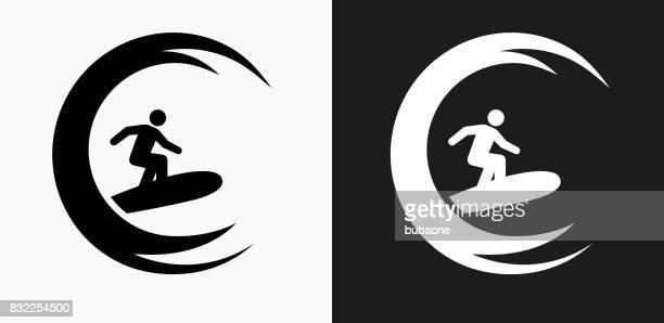 illustrazioni stock, clip art, cartoni animati e icone di tendenza di stick figure surfing icon on black and white vector backgrounds - tempo turno sportivo