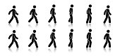 Stick figure walk. Walking animation. Posture stickman. People icons set. Man in different poses and positions. Black silhouette. Simple cute modern design. Flat style vector illustration.