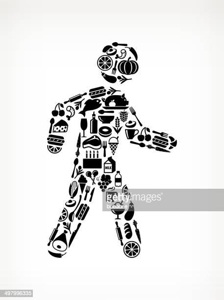 stick figure walking food & drink royalty free vector arts - recreational pursuit stock illustrations, clip art, cartoons, & icons