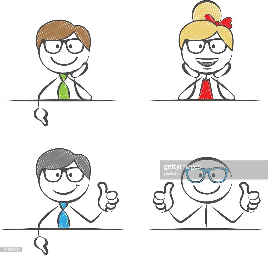 stick figures business thumbs up set