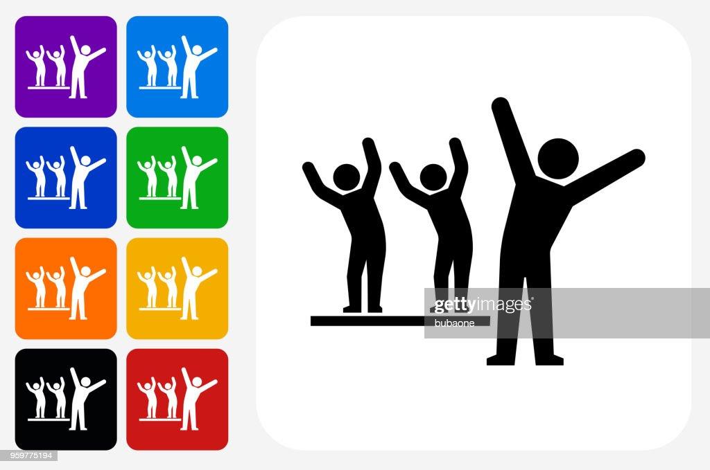 Strichmännchen Dehnung Symbol Quadrat-Taste festlegen : Stock-Illustration