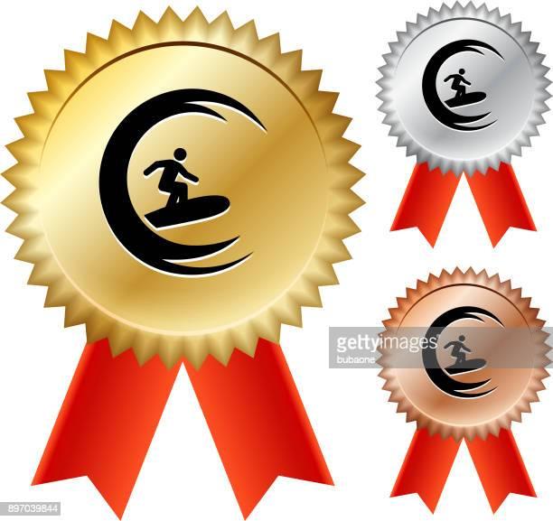 stick fugure surfing gold medal prize ribbons - medallist stock illustrations