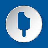 stick ice cream - simple blue icon on white button