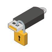 USB stick locked, vector illustration