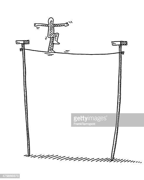 """スティックマンバランスを描画""""tightrope """" - 綱渡りのロープ点のイラスト素材/クリップアート素材/マンガ素材/アイコン素材"""