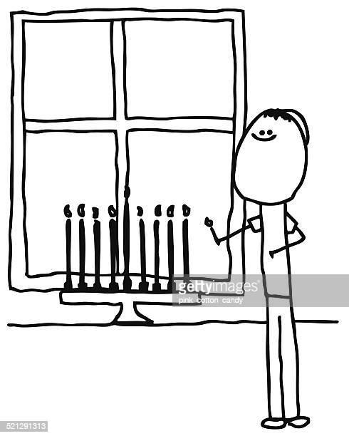 stick man lights menorah - hanukkah stock illustrations, clip art, cartoons, & icons