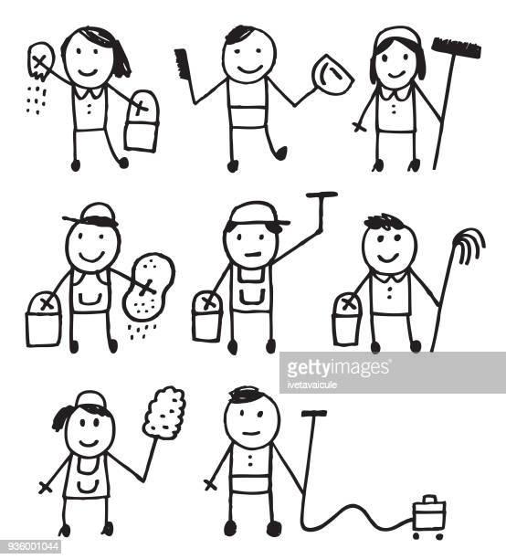 Gente de palo limpiador