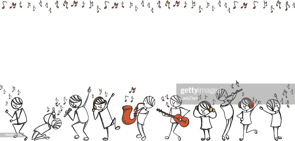 Stick people music series : stock illustration