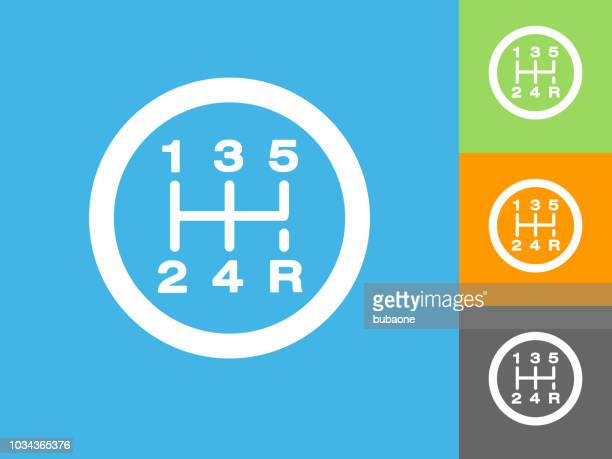 stick shift flat icon on blue background - gearshift stock illustrations, clip art, cartoons, & icons