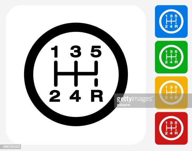 stick shift icon flat graphic design - gearshift stock illustrations, clip art, cartoons, & icons