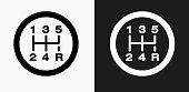 Stick Shift Icon on Black and White Vector Backgrounds