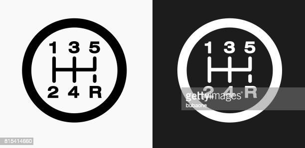 stick shift icon on black and white vector backgrounds - gearshift stock illustrations, clip art, cartoons, & icons