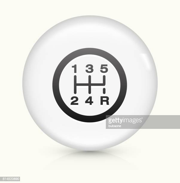 stick shift icon on white round vector button - gearshift stock illustrations, clip art, cartoons, & icons