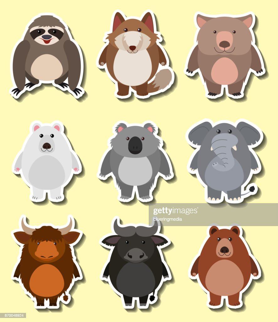 Sticker design for cute animals