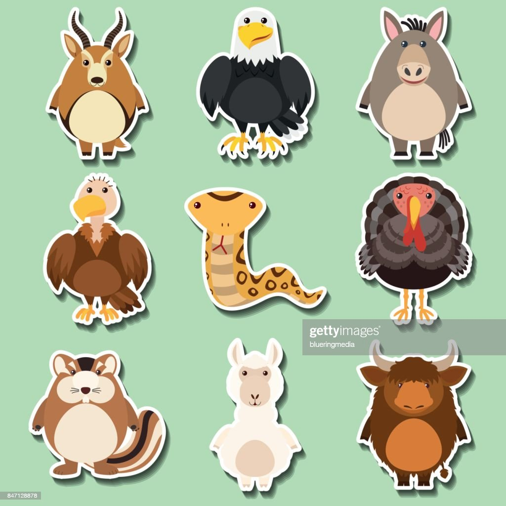 Sticker design with many animals on green background