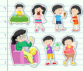 Sticker design with many kids eating sweets
