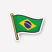 Sticker flag of Brazil on flagstaff