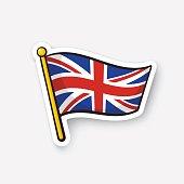 Sticker flag of the United Kingdom on flagstaff