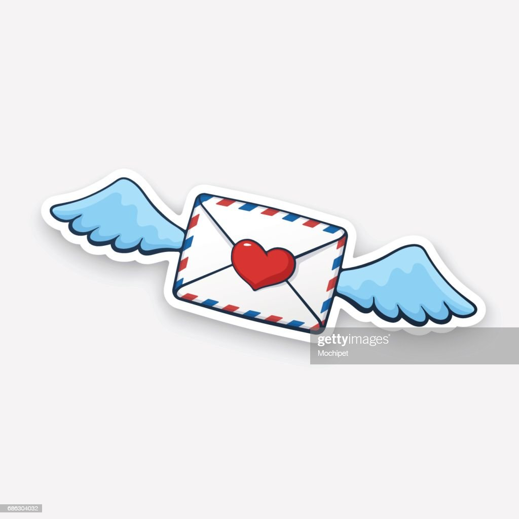 Sticker flying closed envelope with wax heart and wings