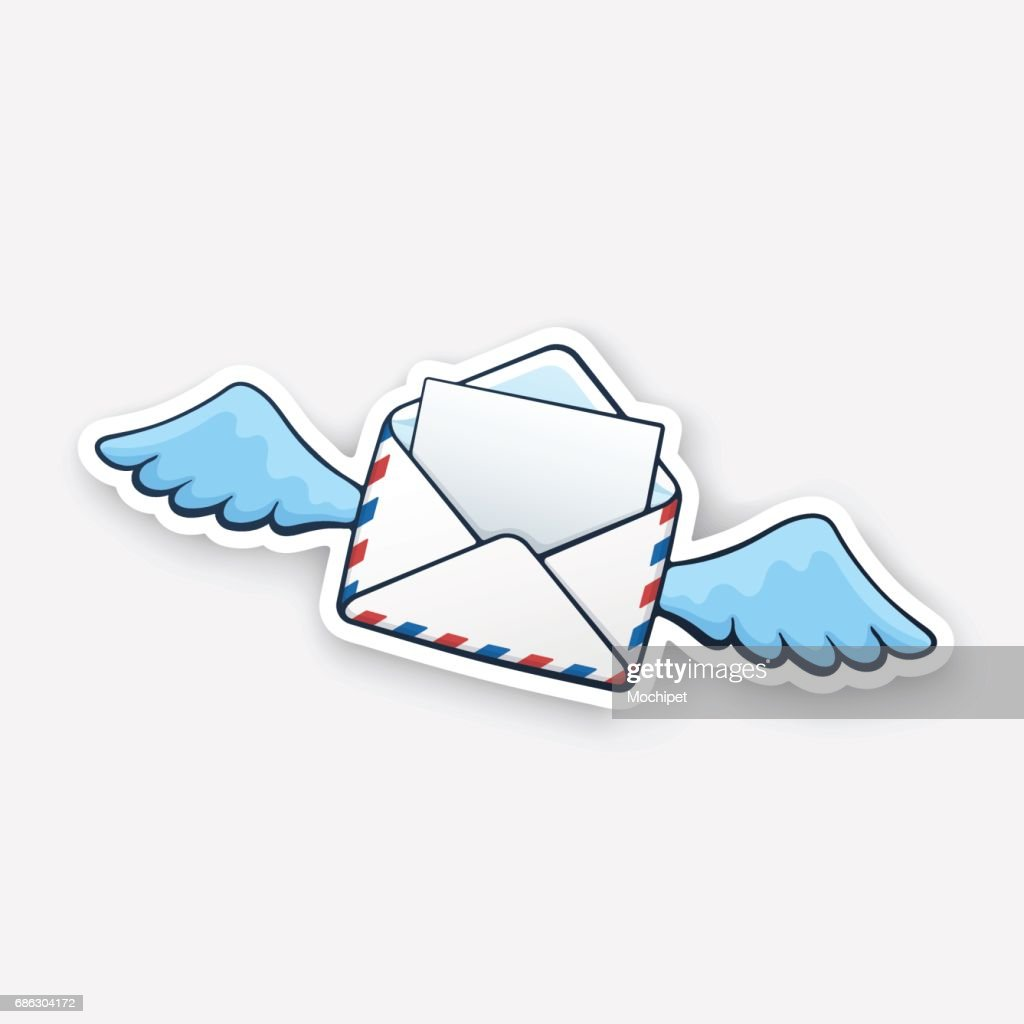 Sticker flying opened envelope with wings