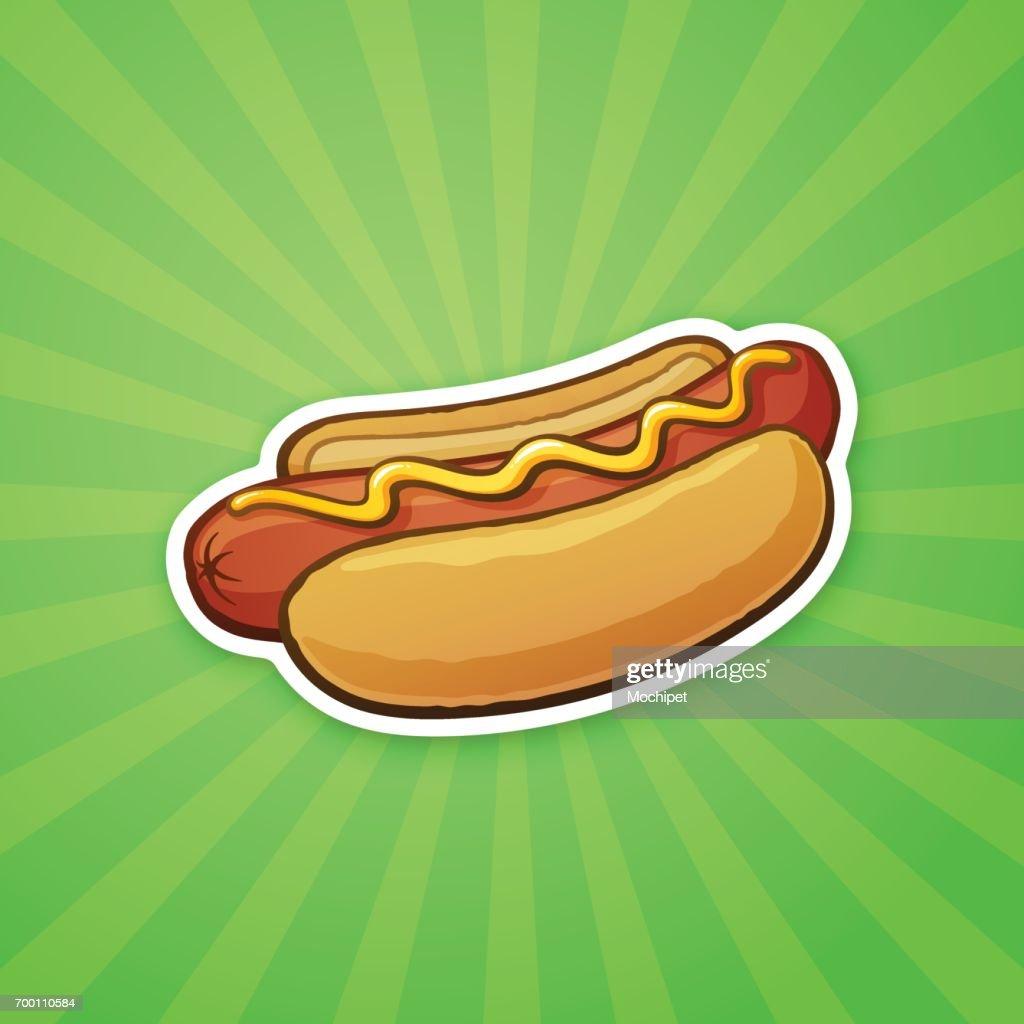 Sticker hot dog with mustard