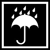 Sticker: Keep dry - fragile - do not leave to moisture - do not leave in the rain - umbrella